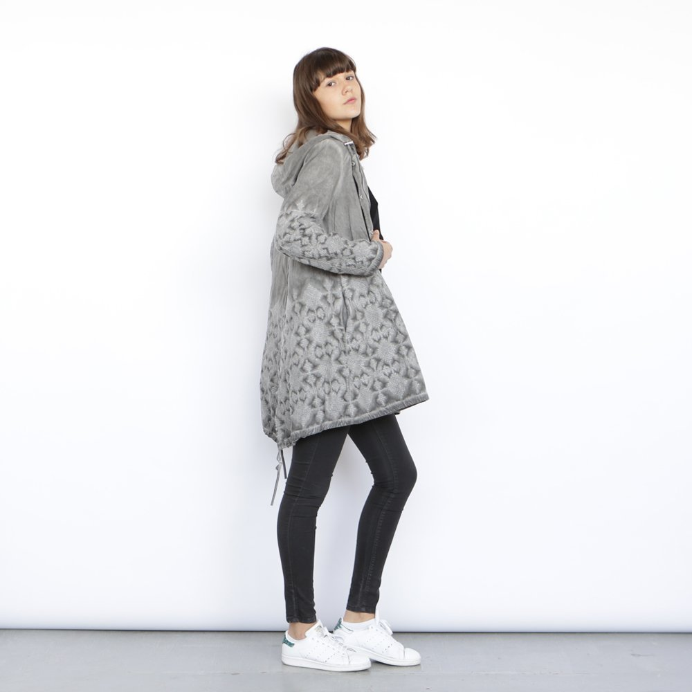 Embroidered Grey coat , knee length grey Jacket. by Naftul