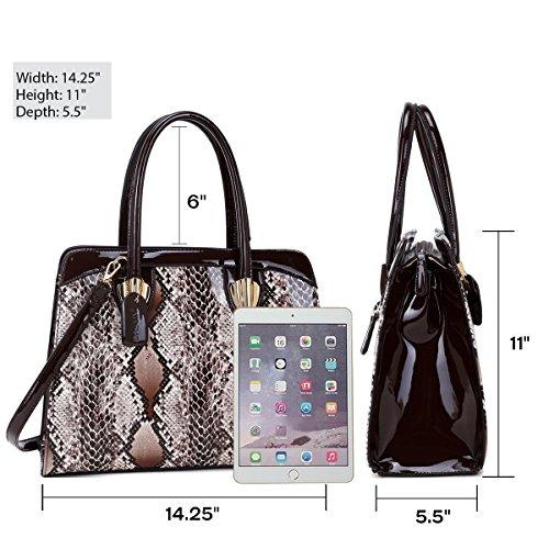 Handbags Top Fashion Women's 8904 Print Tote Snake Bag Dasein Satchel Shoulder Work Zip black Purse qTax1nwz
