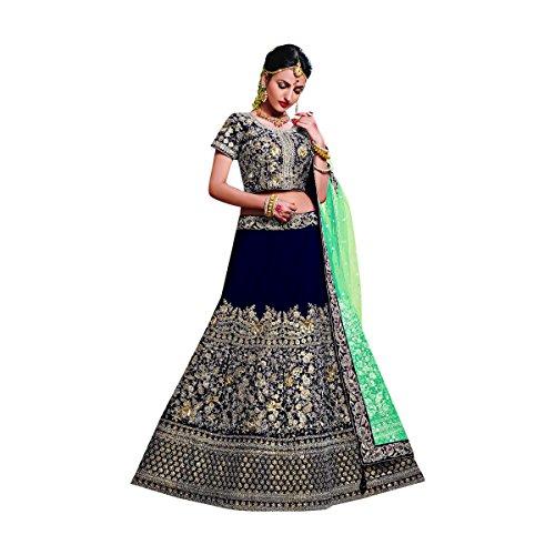 Designer Velvet Lehenga Choli Dupatta Dress Bollywood Indian Ethnic Wedding Women Muslim Bridal Embroidery Zari Work 645 (Blue) by ETHNIC EMPORIUM