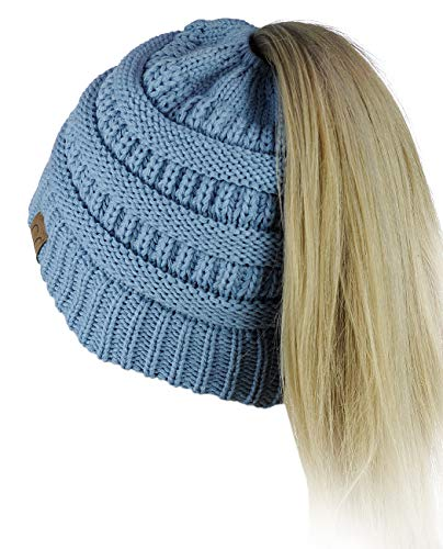 C.C BeanieTail Soft Stretch Cable Knit Messy High Bun Ponytail Beanie Hat, - Cable Pull Knit
