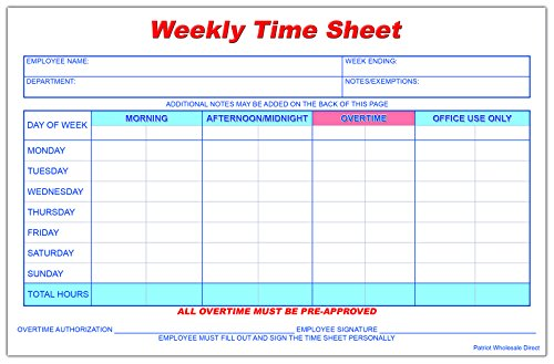 Weekly Employee Time Sheet, 8.5 x 5.5 Inches, 50 Sheets per Pad, 5 Pads/Pack (250 Total) by Patriot Wholesale Direct