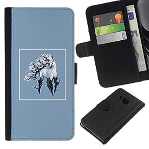 KLONGSHOP // Tirón de la caja Cartera de cuero con ranuras para tarjetas - Unicornio - HTC One M7 //