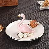 Sangyn Ceramic Flamingos Ring Jewelry Holder Dish Organizer Display for Earring Bracelet Keys Necklace
