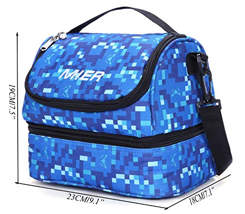 MIER Double Decker Insulated Lunch Box Soft Cooler Bag Thermal Lunch Tote with Shoulder Strap (Blue) by MIER (Image #2)