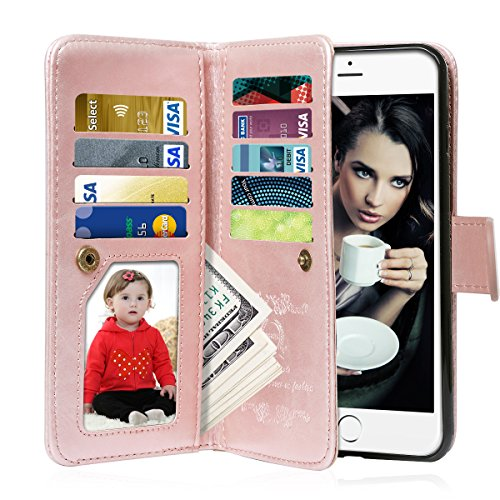 iPhone 6S Case, iPhone 6 Case, Vofolen 2 in 1 iPhone 6S Wallet Case Folio Flip PU Leather Case Magnetic Detachable Slim Back Cover Hard Case Card Holder Wrist Strap - Id Card Retro Credit