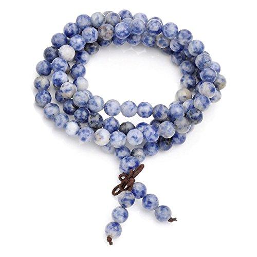 Top Plaza Unisex 108 Natural Gemstone Buddha Prayer Beads Mala Bracelets Buddhist Rosary Necklace(6mm Blue-Vein Stone)