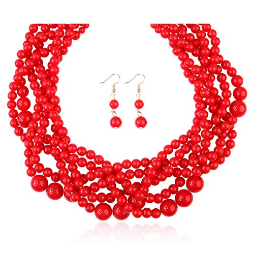 RIAH FASHION Braided Chunky Cluster Bead Bubble Statement Necklace - Multi Strand Twisted Colorful Twisted Ball Hammock Bib Collar (Twisted Bauble - Red) ()