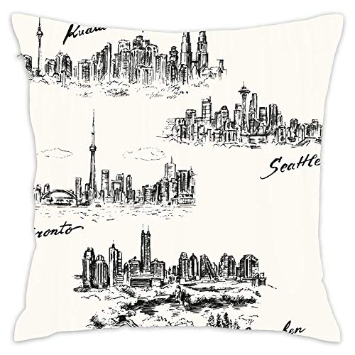 Skyline Toronto Seattle Shenzhen Kuala Lumpur Hand Drawn Collection City Landmark Cityscape Pen Canada Decorative Pillow Case Throw Pillows Covers for Couch/Bed 18 X 18 Inch -