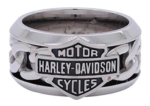 Harley-Davidson Men's Stainless Steel Chain Bar & Shield H-D Ring HSR0031 (12) ()