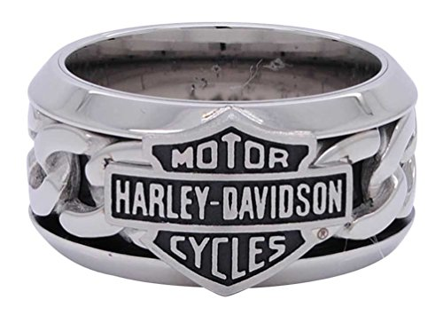 Harley Davidson Ring (Harley-Davidson Men's Stainless Steel Chain Bar & Shield H-D Ring HSR0031 (9))