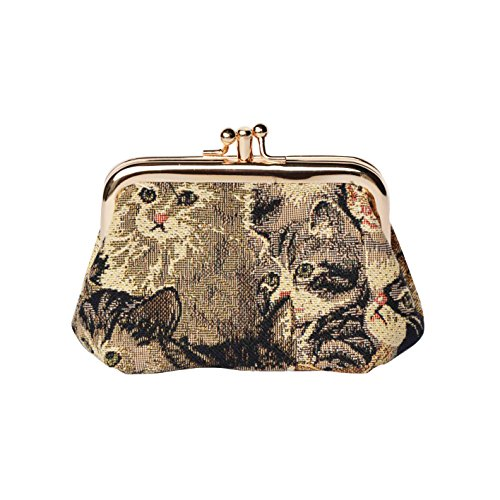 Cat Print Tapestry Double Clasp Frame Coin Change Purse by Signare (FRMP-CAT)