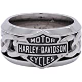 Harley-Davidson Men's Stainless Steel Chain Bar & Shield H-D Ring HSR0031