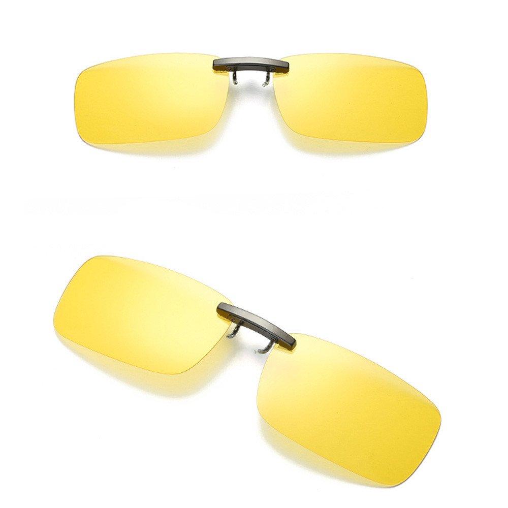 Yellow Roisay Unisex Square Detachable Night Vision Lens Clip-on Glasses,Driving Metal Anti-Glare Lenses Sunglasses Polarized Frameless Clip On Glasses Sunglasses