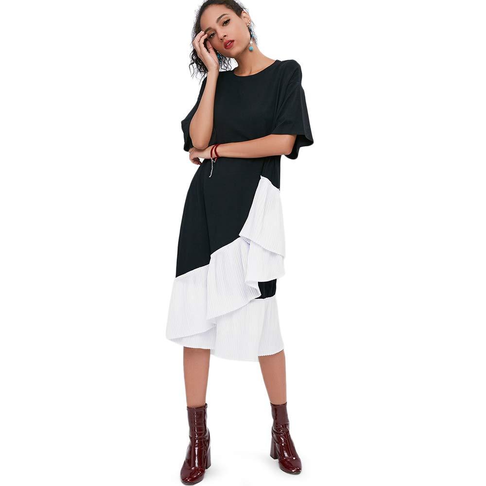 92aa25c8b1a ZAFUL Women Midi Dress Asymmetric Pleated 2 Tone Short Sleeves A Line Round  Collar Mid-Calf Fall Spring Summer T Shirt Dress Black at Amazon Women s ...