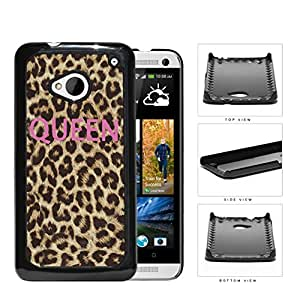 Pink Queen Script On Cheetah Print Hard Plastic Snap On Cell Phone Case HTC One M7