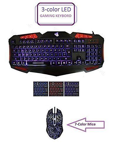 HDStars Gaming Keyboard and Mouse Combo Bundle. Tri Color Illuminated Keyboard Blue, Red, Purple, - 7 Color LED Mouse for Microsoft Windows 10, 8.1, 8, 7, Vista, XP or Mac Os, X Series