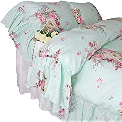 Queen's House Shabby and Chic Green Bedding Duvet Cover King Sets