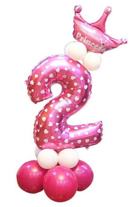 PANDA SUPERSTORE Decoración para Fiestas de cumpleaños de los niños Globo número 2 Rosa