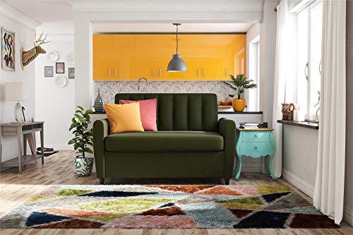 (Novogratz Brittany Sleeper Sofa with Memory Foam Mattress, Green Linen, Twin)