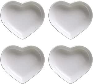 SOCOSY Heart-shaped Multipurpose Ceramic Sauce Dish Seasoning Dishes Sushi Dipping Bowl Appetizer Plates Serving Dish Saucers Bowl(Set of 4)