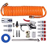 WYNNsky 1/4″ NPT Air Accessory Kit – 20 Piece, Air Compressor Hose Tool kit with Coil PU Hose/Blow Gun/Tire Gauge/Storage Case