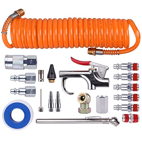 WYNNsky 1/4 Inch NPT Air Accessory Kit - 20 Piece, Air Compressor Hose Tool Kit with Coil PU Hose/Blow Gun/Tire Gauge/Storage Case