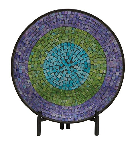 Woodland Imports Appealing Metal Mosaic Platter with Stand