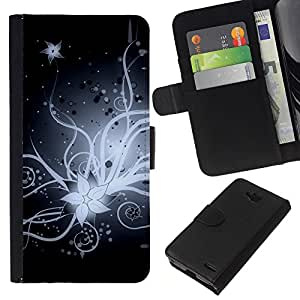 KingStore / Leather Etui en cuir / LG OPTIMUS L90 / Flor de la flor blanca Noche Negro Art Dibujo