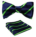mens blue green ties - SetSense Men's Stripe Jacquard Woven Self Bow Tie Set One Size Green/Blue