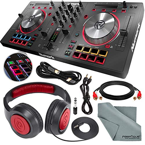 Numark Mixtrack Pro 3 - USB DJ Controller with Serato DJ Lite Download & Integrated Sound Card + Headphones and Cables Basic Bundle