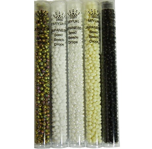 Matte and Pearl Mix Miyuki 3.4mm Glass Tear Drop Fringe Seed Beads 125 Grams