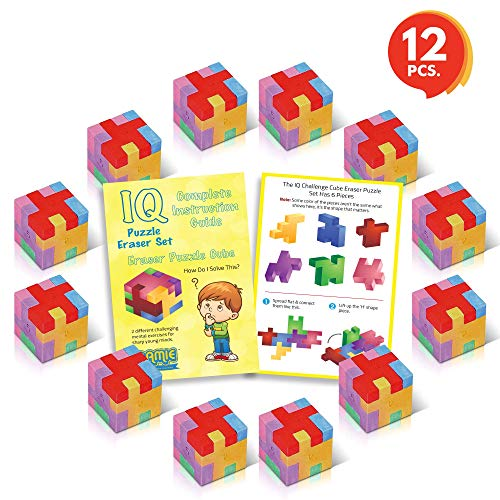 (3D Puzzle Cube Erasers Set for Kids by Gamie (Set of 12) | Includes 12 Cube Puzzle Erasers | Fun Brain Teaser for Boys and Girls/Cool Party Favor/Great Carnival Prize)