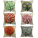 Luxbon Conjunto de 6 Fundas Cojín Almohada Lino Duradero Árbol Florecido Esperanza Seis Colores Decorativos para Sofá Cama Coche 18x18' 45x45 cm