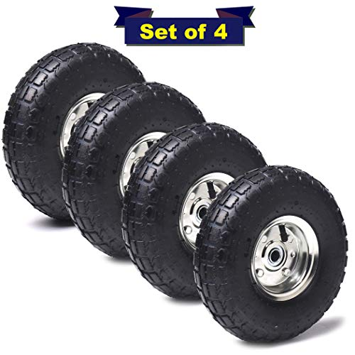 "AR-PRO 10″ Heavy Duty Replacement Tires/Wheels/Inner Tubes with 5/8"" Hole and Sealed Bearings (Set of 4) – for Wheelbarrows, Mowers, Hand Trucks, Air Compressors and More"