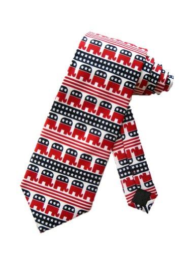 Parquet Mens Republican Elephant Political Necktie - White - One Size Neck Tie