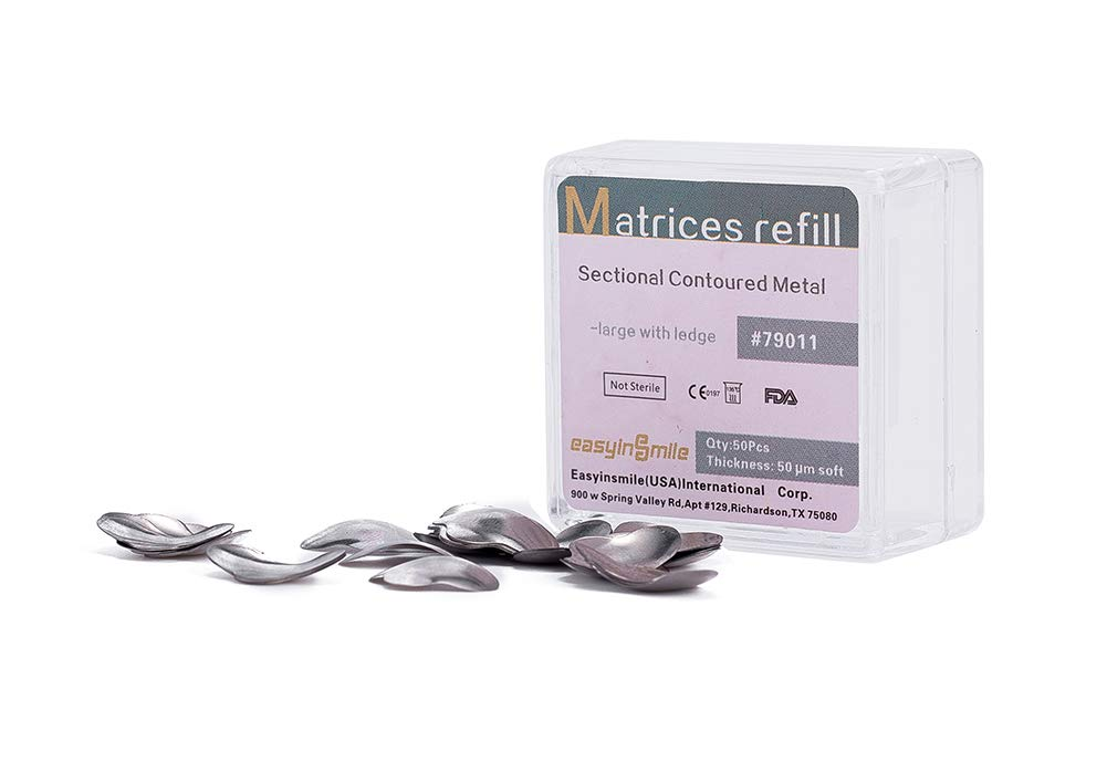 Easyinsmile Dental Matrices Matrix Refill Metal Sectional Contoured (Large with Ledge Refill 50 Pcs)