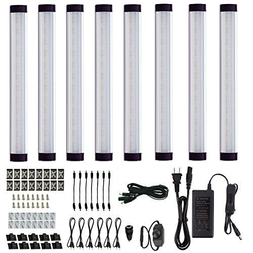 AIBOO Hardwired Under Cabinet Lighting,8 Under Cabinet LED Lights,12V Dimmable Kitchen Light Bar for Counter,Shelf,Bookcase,Closet,Hutches.All Accessories Included.(8 Panels,Warm White)