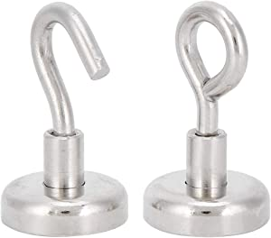 2Pcs Magnetic Hook, 20lbs Heavy Duty Magnet Hooks, Long Service Life, Supports N35 Magnetic Level, for Home, Kitchen, Office, Garage Indoor Hanging