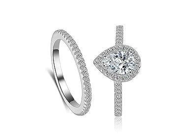 Amazon.com: Juego de anillos clásicos para novia, de 0,75 ...