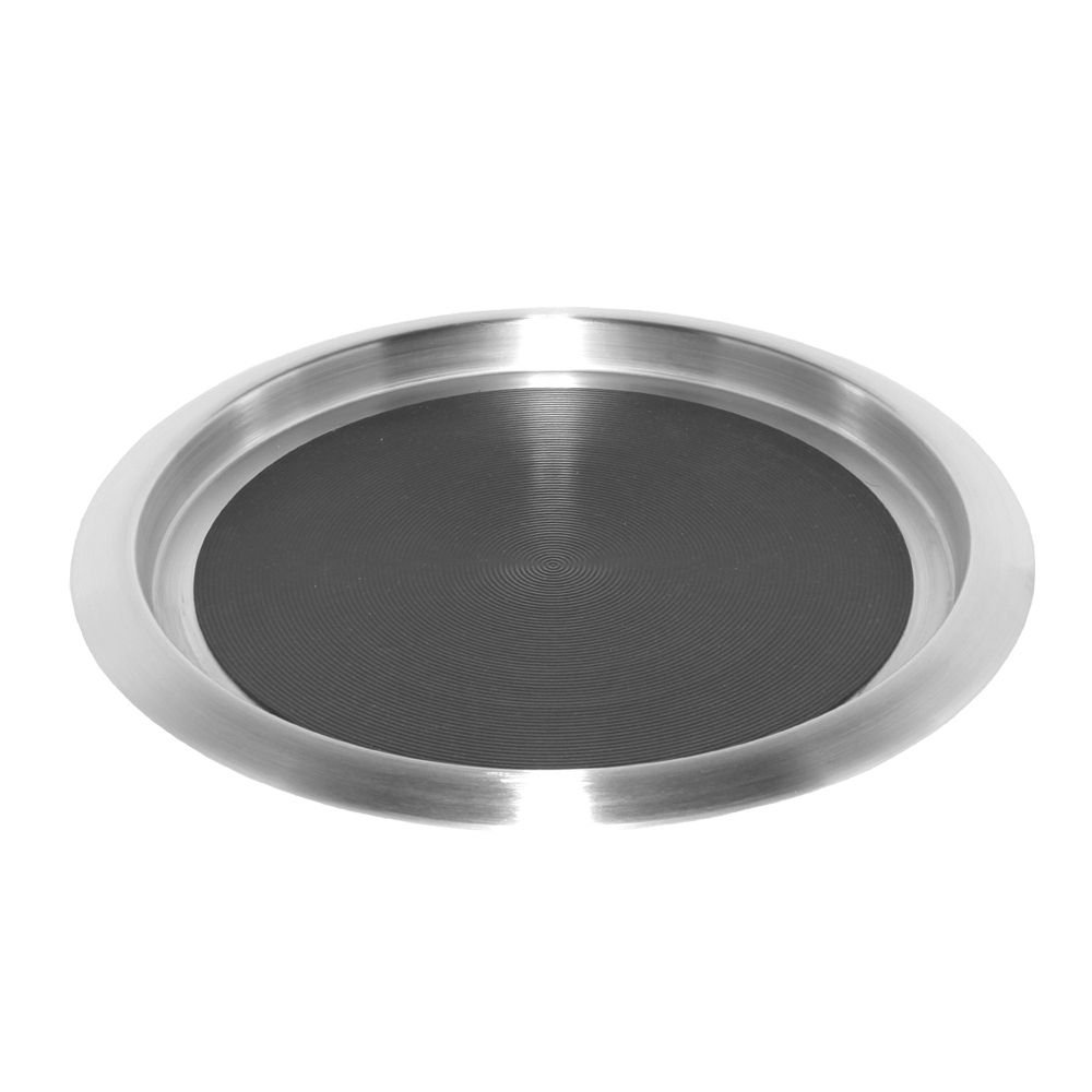 Service Ideas TR1412SR 14' Non-Slip Round Tray, Brushed Stainless/Black Insert