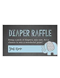 Blue Elephant Diaper Raffle Cards for a Baby Shower - 50 Count BOBEBE Online Baby Store From New York to Miami and Los Angeles