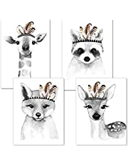 ARTpin® Poster Kinderzimmer Von Künstlerin - Bilder Babyzimmer - A4 Wandbilder Mädchen Junge - Deko Im Skandinavischen Stil Schwarz/Weiss Oder Bunt