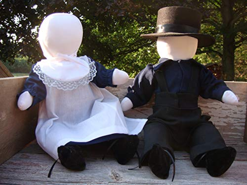 Traditional Handmade Amish Girl and Boy Doll Set, Approximately 15