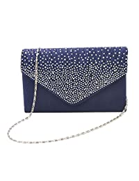SODIAL Womens Silk face Diamond Clutches Shoulder Bag Evening Bridal Prom Satchel Chain Handbag(Navy Blue)