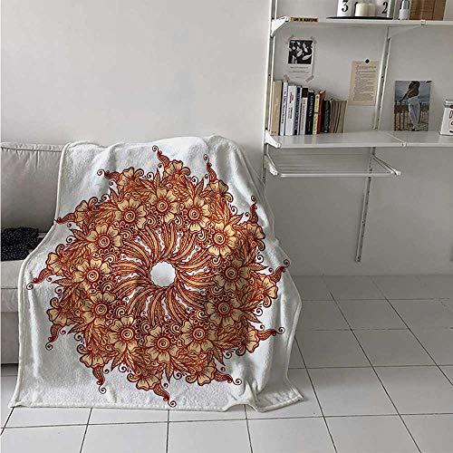 maisi Henna Digital Printing Blanket Eastern Civilization Inspired Floral Tattoo Design Mehndi Motif Illustration Summer Quilt Comforter 62x60 Inch Mustard Dark Orange]()