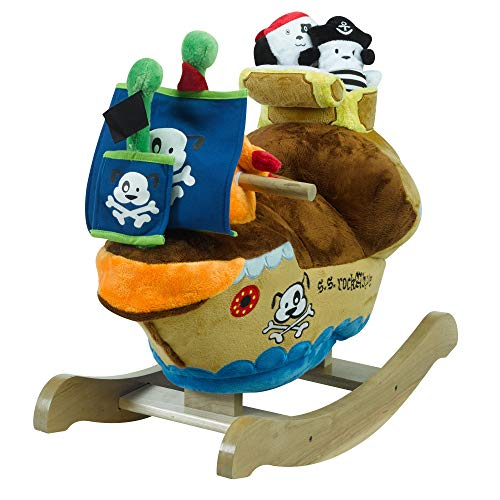 Baby Furniture Rockabye (Ahoy Doggie Pirate Ship Play and Rock | Horse Plush Butterfly Baby Toy with Wooden Rocking Chiar Horse/Kid Rocking Toy/Baby Rocking Horse/Rocker/Animal Ride)