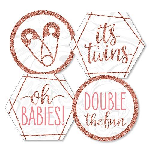 (It's Twin Girls - Decorations DIY Pink and Rose Gold Twins Baby Shower Essentials - Set of)