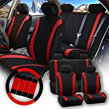 pontiac g6 airbag - FH Group Pique Fabric Full Set Seat Covers w. Steering Wheel Covers and Seat Belt Pads (Airbag & Split Ready) - Fit Most Car, Truck, Suv, or Van