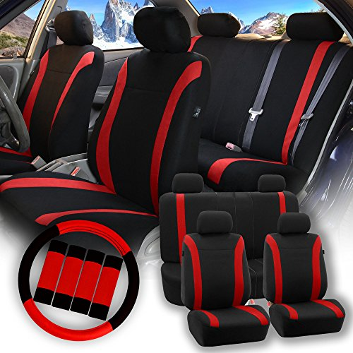 FH Group Pique Fabric Full Set Seat Covers w. Steering Wheel Covers and Seat Belt Pads (Airbag & Split Ready) - Fit Most Car, Truck, Suv, or (Honda Civic Seat Belt)