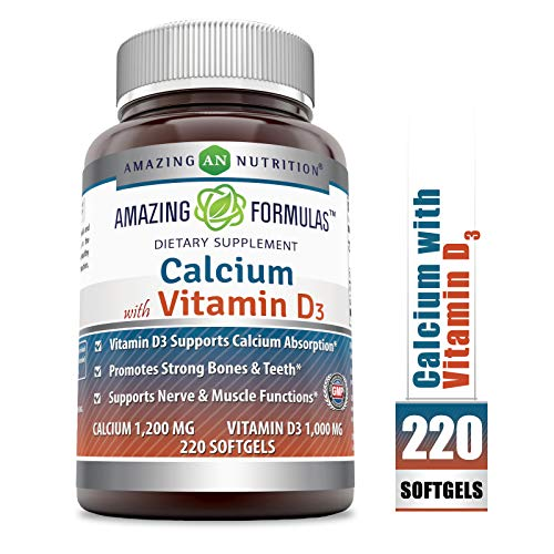 Amazing Formulas Calcium with Vitamin D3 - Calcium 1200 Mg, Vitamin D3 1000 Mg 220 Softgels - aids in Better Calcium Absorption * Supports Bone Health & Proper Nerve & Muscle Function